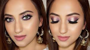 enement party makeup look purple halo eyes