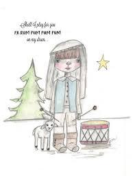 Christmas Notecard Drummer Boy Christmas Notecard Custom Hand Drawn Little Drummer Boy