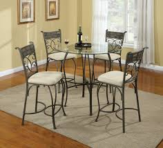 dining room black steel base with round glass top table combined with black steel legs