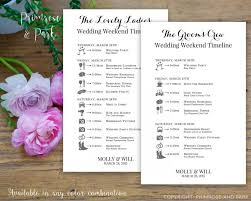 Wedding Schedule Bridal Party Wedding Timeline Printed Cards Wedding Itinerary