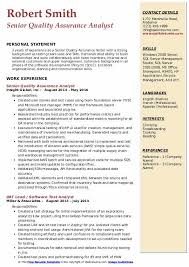 Senior Quality Assurance Analyst Resume Samples Qwikresume