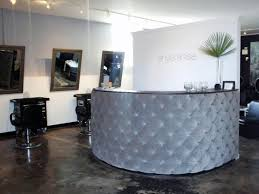 ideas gorgeous quilted reception desk to welcome clients to this upscale beauty salon hines created a