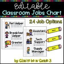 Editable Classroom Jobs Chart School Themed