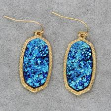 whole 6 pair lot mini iridescent druzy oval drop earring chic statement delicate boutique jewelry