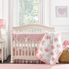 Light Green Crib Skirt Pink Peony Crib Bedding Set With Quilt