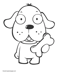 Small Picture Coloring Book Pages Animals Dogs Cute Puppy Holding Bone