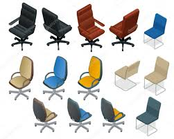isometric office furniture vector collection. Office Chair Isolated On White Background. And Armchair Isometric Vector Set. Modern Chairs Furniture Collection A