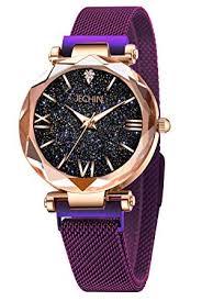 Jechin Fashion Women's Starry Sky Watch Purple ... - Amazon.com