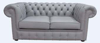 chesterfield traditional 2 seater shelly silver grey leather sofa settee