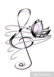 Fototapeta Vinylová Chiave Violino Tetování Colorata