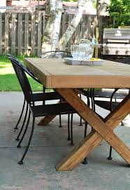 outdoor wood tables startling table with x leg and herringbone top free plans decorating ideas 15