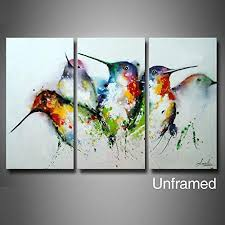 artland hand painted framed wall art colorful birds 3 piece animal oil painting on canvas for living room artwork for wall decor home decoration unframed  on colorful birds canvas wall art with bird canvas wall art amazon