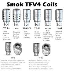 Smok Coil Chart Replacement Coils For Smok Tfv4 Tanks