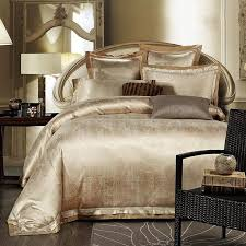 gold white blue jacquard silk bedding set luxury 4pcs satin bed set duvet cover