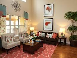 Red And Turquoise Living Room Living Room Green Plant Flower Pattern Sofa Cushion Wall