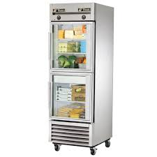 true t 23dt g hc fgd01 one section reach in combination refrigerator freezer with glass doors