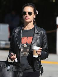 alessandra ambrosio acne studios biker jacket black biker jacket leather black sweatshirt