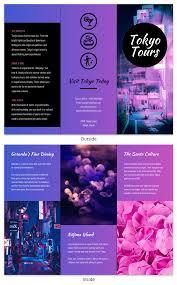 Tokyo Gradient Professional Travel Tri Fold Brochure Template