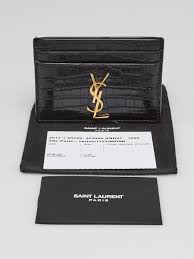 Maybe you would like to learn more about one of these? Yves Saint Laurent Black Crocodile Embossed Leather Card Holder Yoogi S Closet