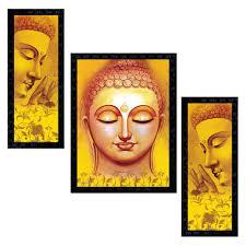 set of 3 modern art lord buddha framed