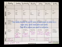 Weekly Menu Printable Weekly Menu Meal Planner