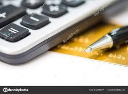 Close Pen Credit Card Has Calculator Concept Spending Plan Repayment
