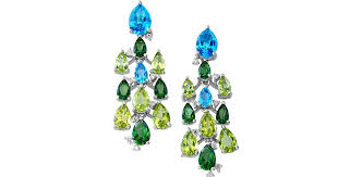 lyst effy mosaic semi precious multi stone 14k white gold chandelier earrings in green