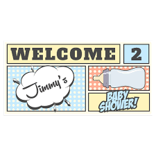 Baby Shower Banner Comics Baby Shower Banner Personalized Custom Party Backdrop