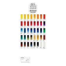 Oil Paint Colour Chart Winsor Newton Artisan Water Mixable Oil Paint Hand Painted Colour Chart