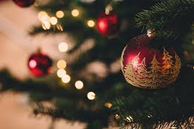 Christmas Tree With Baubles Free Stock Photo