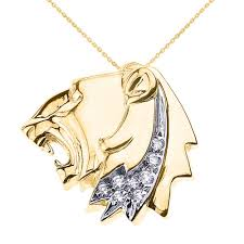 cz roaring lion head leo zodiac charm pendant necklace in 14k gold