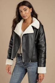leather jackets black silent night faux shearling moto jacket