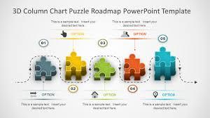 road map powerpoint template 3d column chart puzzle roadmap powerpoint template slidemodel