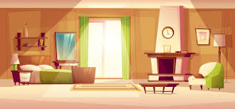 Cozy modern furniture living room modern Design Cozy Modern Bedroom Living Room With Double Bed Fireplace Armchair Eps File Uihere Cozy Modern Bedroom Living Room With Double Bed Fireplace