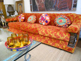 Mexican Living Room Furniture Orange Red Brocade Sofa 1960s Uzbeki Pillows Handblown