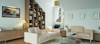 awesome living room interior set with glass coffee table also sloping wall bookcase decoration behind