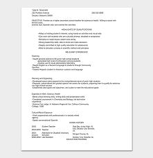Spanish Teacher Resume Interesting Teacher Resume Template 48 Samples Formats