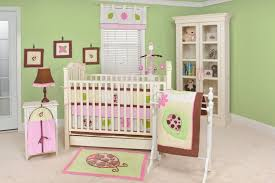delightful baby nursery room decoration with ladybug baby bedding sets charming light pink green baby
