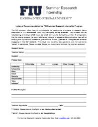 Letter Of Recommendation For Internship Fillable Online Sri Fiu Letter Of Recommendation For Fiu