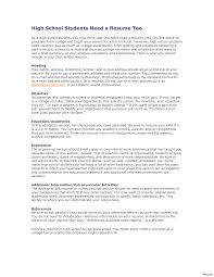 Example Of High School Resume Image Of Template Writing A High School Resume Example For College 87