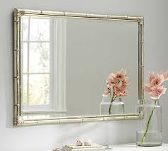 Wall mirrors Dining Room Hutchison Glass Mirror Bamboo Silver Gilt Wall Mirror Pottery Barn