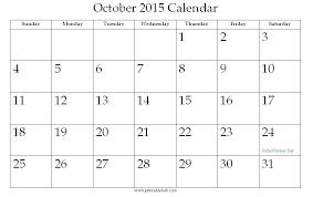 October 2015 Printable Calendar Printable Hub