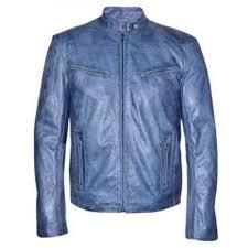 men s motorcycle washed blue leather jacket