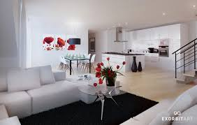 White And Red Kitchen Fabulous Modern Red Black And White Kitchen Decoration Using