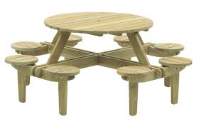traditional picnic table pine round garden 306 alexander rose with seat backs 8 seater 63379 107