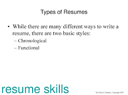 Two Types Of Resumes Clue In Resume Skills For Non Traditional Careers Ppt