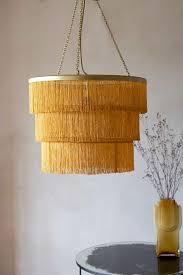 three tier fringe chandelier gold