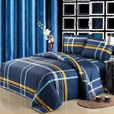 navy blue and yellow boys tartan plaid print traditional simply chic cool color 100 cotton full queen size bedding sets