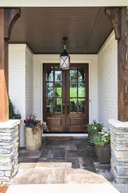 double glass front doors with rock and