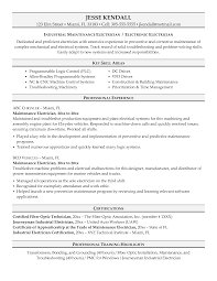 Industrial Maintenance Electrician Resume Professional Experience